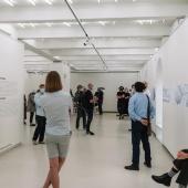 Un momento dell'inaugurazione della mostra Cronostasi di Gianfranco Ferraro & Chiara Panariti, presso la Kaunas Photography Gallery. © Karolina Krinickaité / KAARA Fotografia.