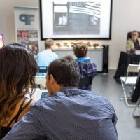 FPschool Open Day 2019, un momento della lezione di Sandro Iovine nell'ambito della presentazione del corso di Comunicazione visiva. © Gianfranco Ferraro/FPschool.