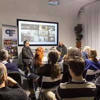 Un momento della serata di presentazione presso FPschool della fanzine fotografica di Gianfranco Ferraro Il signor Sindaco e la Città Futura. © Laura Farinoni/FPschool.