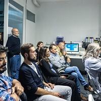 Un momento della presentazione del libro fotografico Kilometro Zero di Stefano Pia nell'ambito di Incontri con l'autore. © Marco Foglia/FPschool.