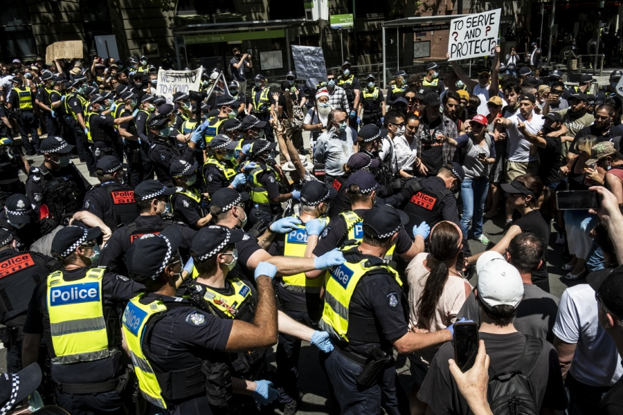 Melbourne 3/11/2020, protesters clash with the Victoria Police at the Parliament House, during the demonstration Anti-Lockdown.
